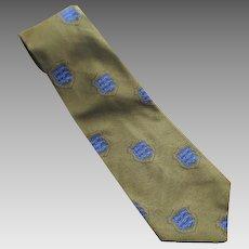 Vintage 1970's Olive Green & Royal Blue Crested Men's Tie