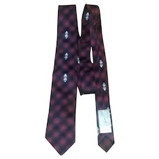 Vintage 1960's Red, Black and Gray Silk Skinny Tie