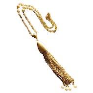 Vintage Brushed Goldtone Tassel Pendant Necklace