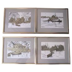 Vintage Lionel Barrymore Silver Foil Etch Print Reproductions - Set of 4