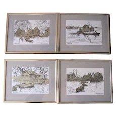 Vintage Lionel Barrymore Silver Foil Etch Print Reproductions - Set of 4