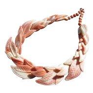 Vintage Pink & White Molded Plastic Leaf Necklace