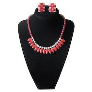 Vintage 1950s Red Glass and Rhinestone Choker Necklace and Earrings Set