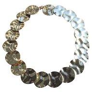 Vintage Hammered Goldtone Disc Link Necklace