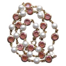 Vintage 1980's Pink & White Imitation Pearl and Lucite Crystal Necklace