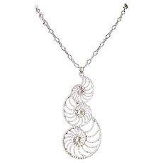 Vintage Danecraft Large Swirl Pendant Necklace