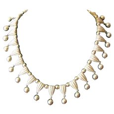 Vintage 1950's Crown Trifari Dangle Collar Choker Necklace in Goldtone