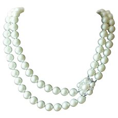 Vintage Marvella Double Strand White Faux Pearl Necklace with Rhinestone Clasp