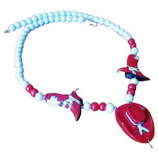 Vintage Western Cowboy Theme Wood Bead Necklace in Red and White