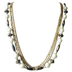 Vintage Long Multi Strand Chain and Bead Necklace
