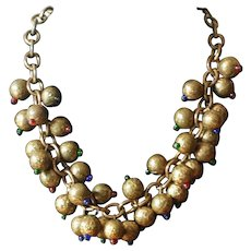 Vintage Embossed Brass and Glass Bead Choker Necklace