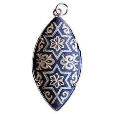 Vintage Damascene Double Pointed Oval Pendant