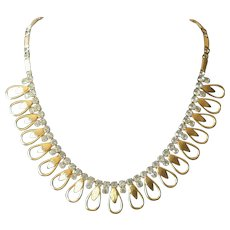 Vintage 1960's Rhinestone Loop Necklace from Sarah Coventry