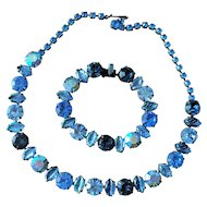 Vintage 1960's Regency Blue Rhinestone Necklace and Bracelet Set