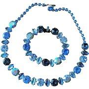 Vintage 1960's Regency Blue Rhinestone Necklace and Bracelet Set