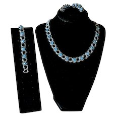 Vintage Pewter Finish Blue Rhinestone Demi Parure with Necklace, Bracelet and Earrings