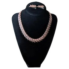 Vintage Renoir Copper Leaf Link Necklace and Earrings Set