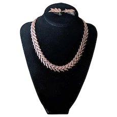 Vintage Renoir Copper Leaf Link Necklace and Earrings Set