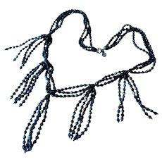 Vintage Long Black Glass Bead Fringe Necklace