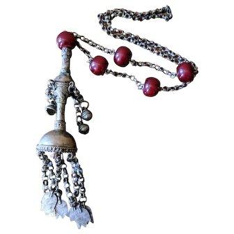 Vintage Middle Eastern Red Bakelite and Silver Hamsa Amulet Necklace