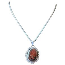 Vintage Agate and Sterling Navajo IHMSS Pendant Necklace