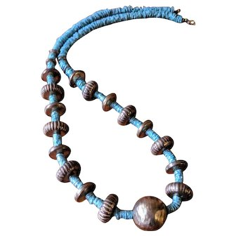 Vintage Blue Glass and Metal Bead Long Boho Necklace