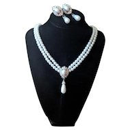 Vintage Faux Pearl and Rhinestone Necklace and Earrings Set