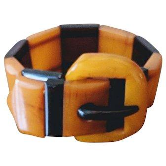 Vintage Brown and Butterscotch Bakelite Buckle Bracelet