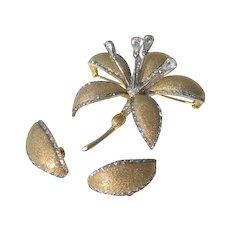Vintage Nettie Rosenstein Tremblant Rhinestone Lily Brooch and Earrings Set