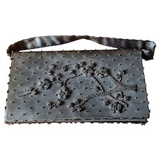 Vintage Black Beaded Satin Clutch Purse