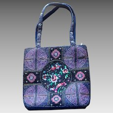 0e5c1245fe33 Vintage Blue Beaded Asian Motif Tote Bag with Embroidered Details