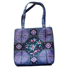 Vintage Blue Beaded Asian Motif Tote Bag with Embroidered Details