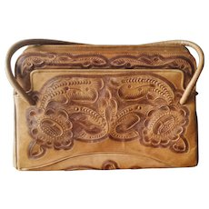 Vintage Mexican Tooled Leather Purse from Flores