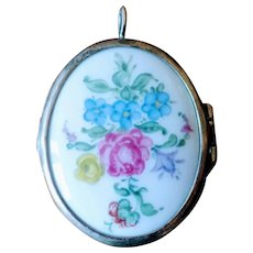 Vintage Sterling Silver and Porcelain Photo Locket