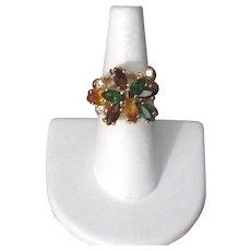 Vintage Amber, Green & Yellow Rhinestone Cocktail Ring