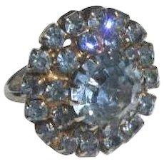 Vintage 1950's London Blue Rhinestone Cocktail Ring