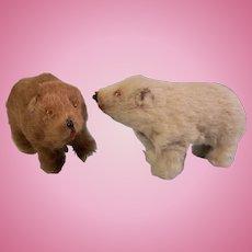 Two Adorable Vintage German Fur Bears