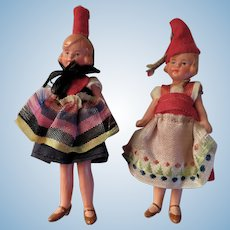 Pair of Lovely Vintage German Dolls for a Dollhouse or Diorama