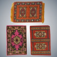 3 Lovely Antique Dollhouse Rugs