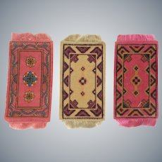 3 Attractive  Antique Dollhouse Rugs c1900