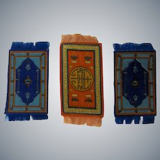 3 Lovely Small Antique Dollhouse Rugs