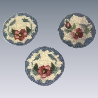 3 Sweet Vintage Hand Hooked Dollhouse Rugs