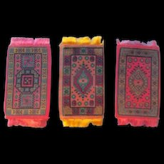 3 Small Pretty Pink Oriental Design Dollhouse Rugs