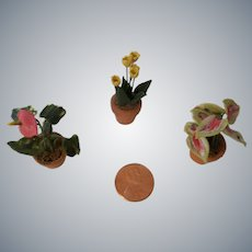 Three Miniature Flower Pots for your Dollhouse