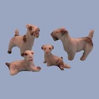 Adorable Antique German Bisque Dollhouse Schnauzer Dogs