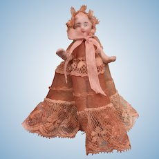 All Bisque Penny Doll Baby in Magnificent Sheer Antique Gown with Bonnet