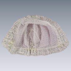 Gorgeous Lace Antique Baby Bonnet for your Bisque Head Doll