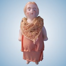 "Sweet 2-1/4"" Antique All Bisque Doll in Peach Silk and Lace Dress"
