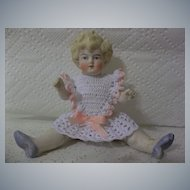 """Large Antique 6.5"""" All Bisque Hertwig Doll"""