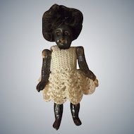 """3-1/4"""" Bisque Head Black Doll with Glass Eyes Swivel Neck"""